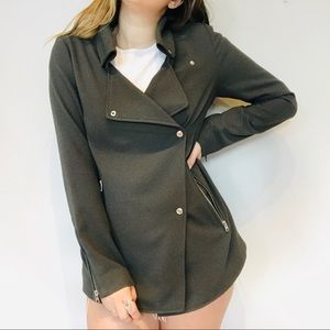 Wilfred Gray long Moto jacket